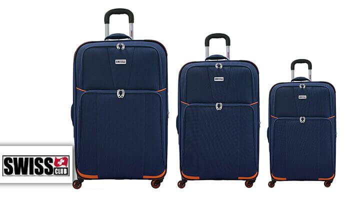 2 סט 3 מזוודות בד SWISS - צבעים לבחירה
