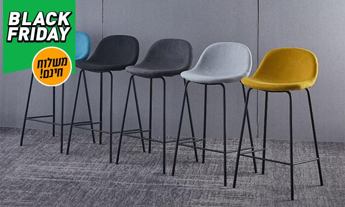 2 כסא בר מרופד - משלוח חינם