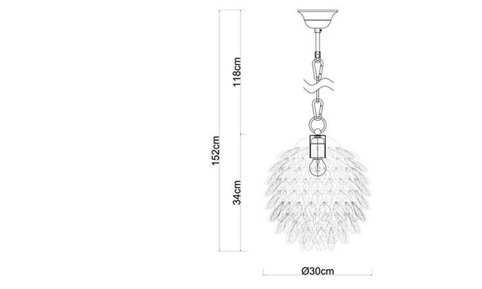 3 ביתילי: מנורת תלייה דגם שיסל בינוני