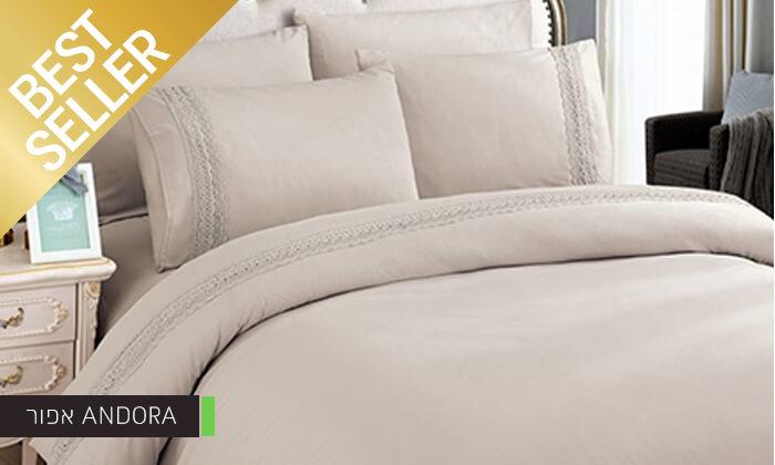 6 סט מצעים משולב תחרה למיטת יחיד או זוגית במבחר צבעים