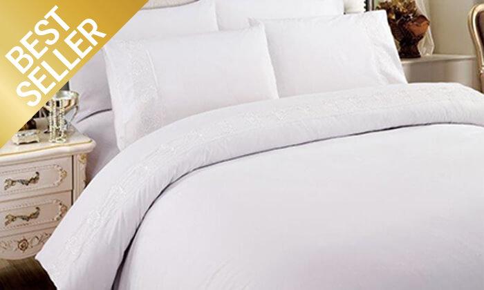 26 סט מצעים משולב תחרה למיטת יחיד או זוגית במבחר צבעים