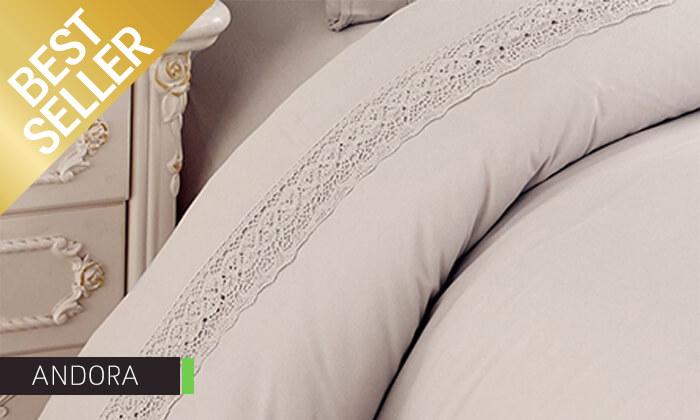21 סט מצעים משולב תחרה למיטת יחיד או זוגית במבחר צבעים