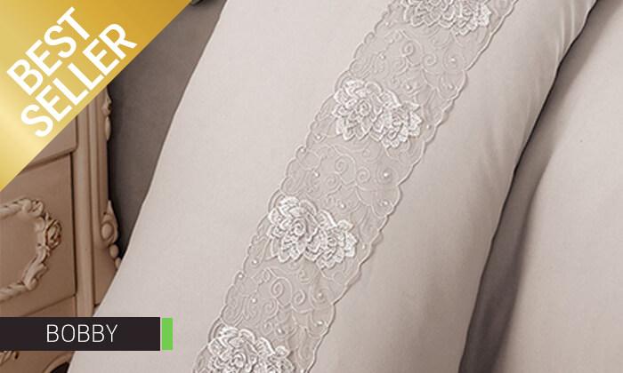 25 סט מצעים משולב תחרה למיטת יחיד או זוגית במבחר צבעים