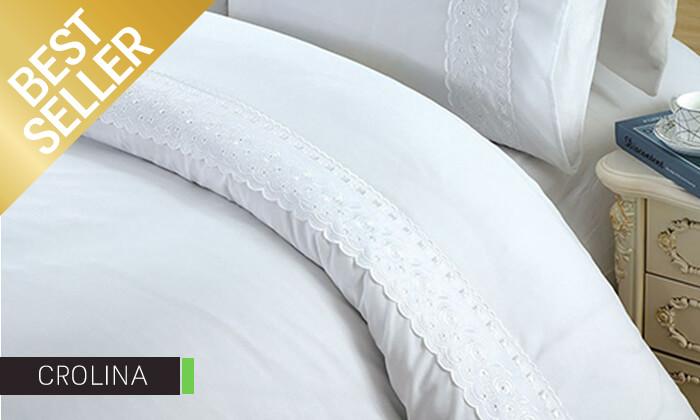 23 סט מצעים משולב תחרה למיטת יחיד או זוגית במבחר צבעים