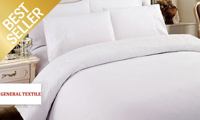 4 סט מצעים משולב תחרה למיטת יחיד או זוגית במבחר צבעים