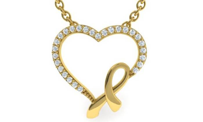 2 תליון לב יהלומים 14K של GOLDIAM - משלוח חינם