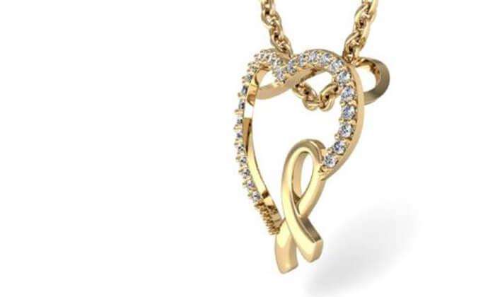 3 תליון לב יהלומים 14K של GOLDIAM - משלוח חינם