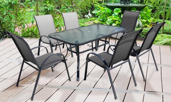 פינת אוכל לגינה עם 6 כסאות דגם וגאס - משלוח חינם