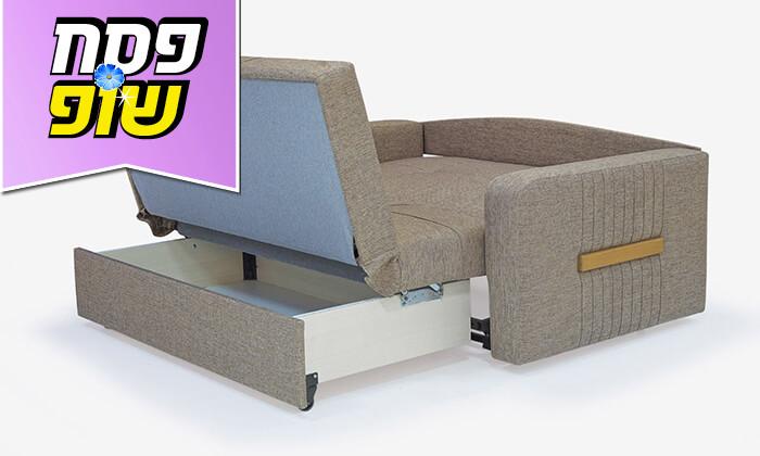 4 ספה דו מושבית מרופדת הנפתחת למיטה זוגית