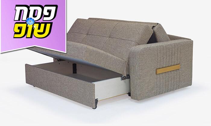 3 ספה דו מושבית מרופדת הנפתחת למיטה זוגית