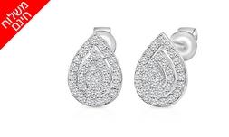 עגילי יהלומים בעיצוב טיפה 14K