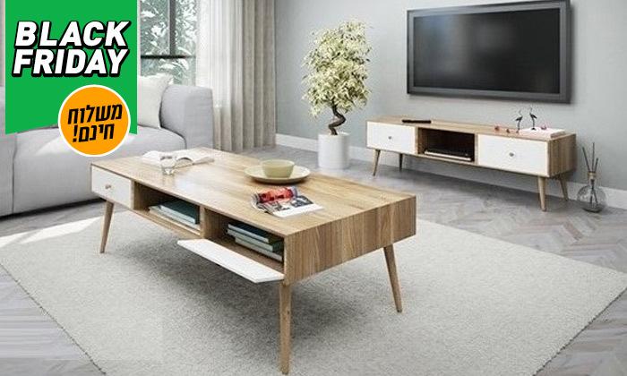2 סט שולחן סלון נאפולי ומזנון טלוויזיה רומא במבחר צבעים - משלוח חינם