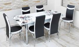 שולחן אוכל נפתח ו-6 כיסאות