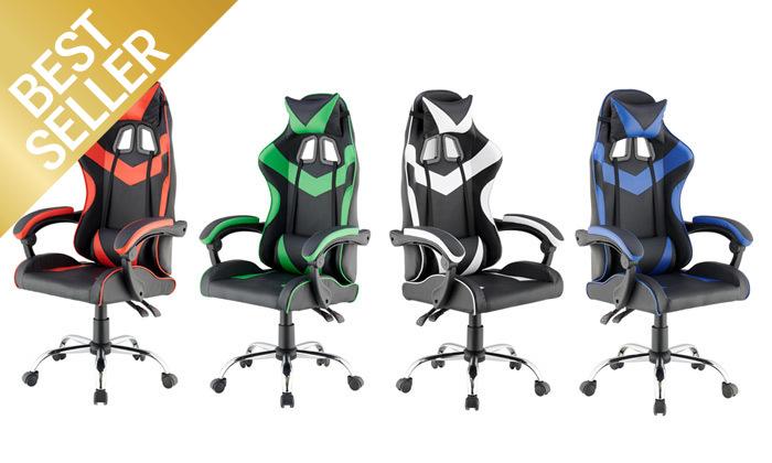 2 כיסא גיימרים עם מבנה ארגונומי