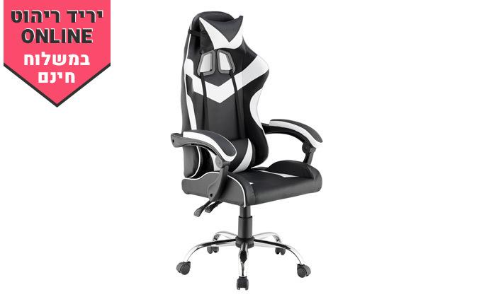 3 כיסא גיימינג גבוה עם 2 כריות תמיכה ובסיס כרום - משלוח חינם