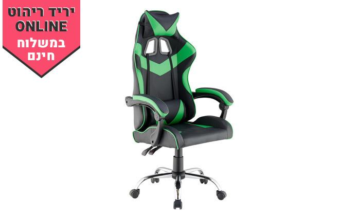 5 כיסא גיימינג גבוה עם 2 כריות תמיכה ובסיס כרום - משלוח חינם