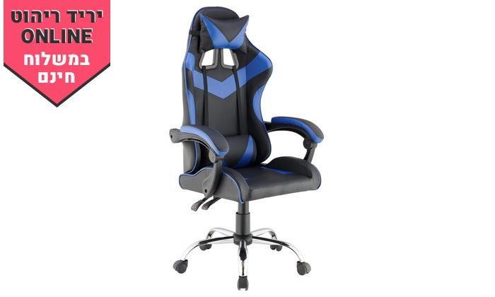 6 כיסא גיימינג גבוה עם 2 כריות תמיכה ובסיס כרום - משלוח חינם