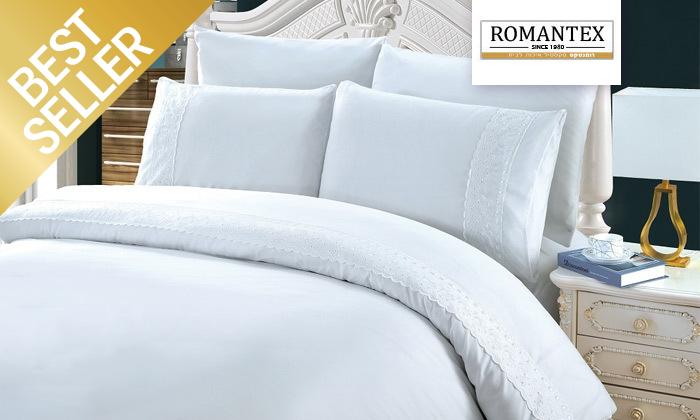3 סט מצעים משולב תחרה למיטת יחיד או זוגית במבחר צבעים