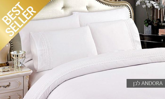 12 סט מצעים משולב תחרה למיטת יחיד או זוגית במבחר צבעים