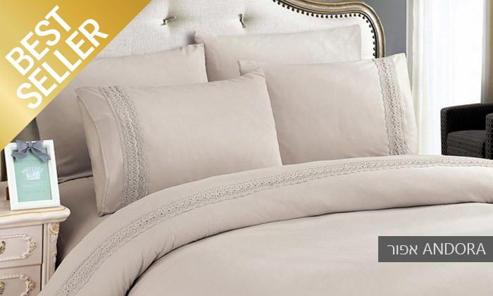 13 סט מצעים משולב תחרה למיטת יחיד או זוגית במבחר צבעים