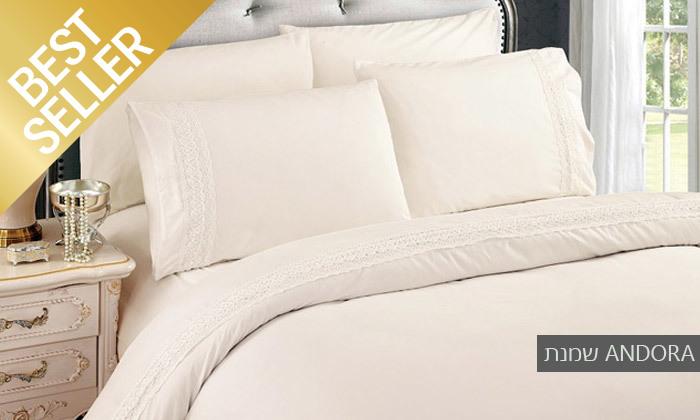 14 סט מצעים משולב תחרה למיטת יחיד או זוגית במבחר צבעים