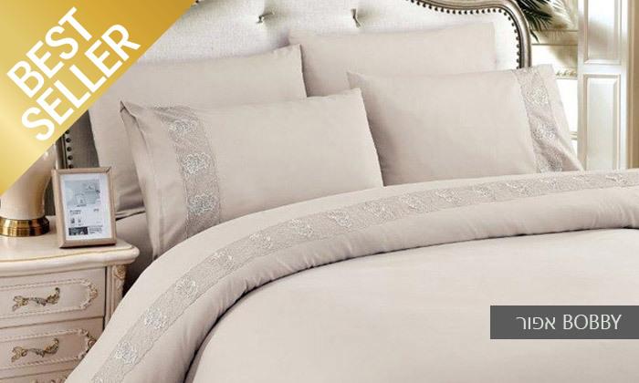 17 סט מצעים משולב תחרה למיטת יחיד או זוגית במבחר צבעים