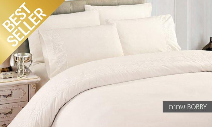 18 סט מצעים משולב תחרה למיטת יחיד או זוגית במבחר צבעים