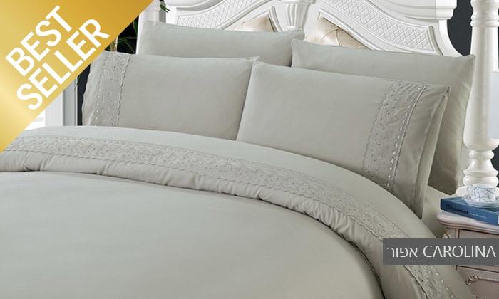 20 סט מצעים משולב תחרה למיטת יחיד או זוגית במבחר צבעים
