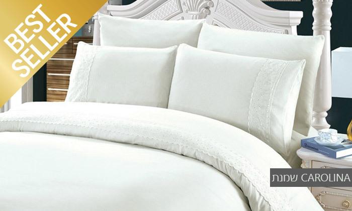 22 סט מצעים משולב תחרה למיטת יחיד או זוגית במבחר צבעים