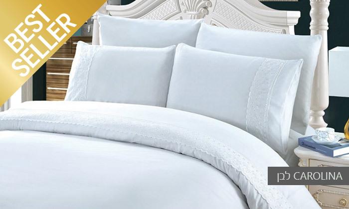 24 סט מצעים משולב תחרה למיטת יחיד או זוגית במבחר צבעים