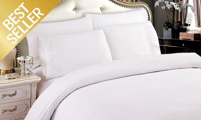 27 סט מצעים משולב תחרה למיטת יחיד או זוגית במבחר צבעים
