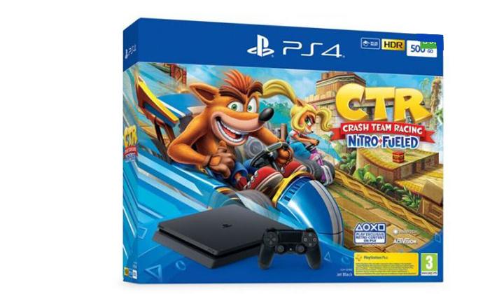 קונסולת משחק Sony PlayStation 4 ומשחק Crash Team Racing Nitro-Fueled