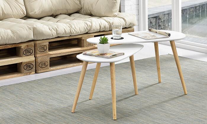 3 זוג שולחנות קפה מעץ בצורת טיפה