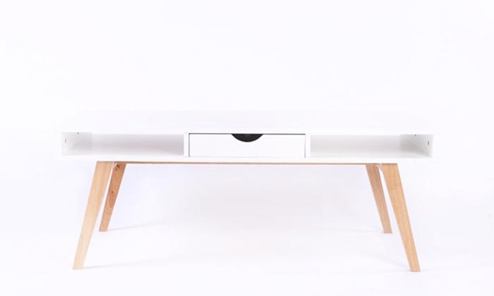 3 שולחן קפה מלבני מעץ