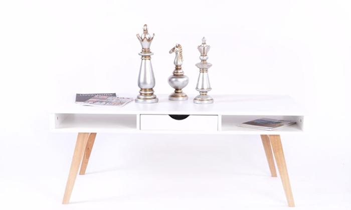 2 שולחן קפה מלבני מעץ