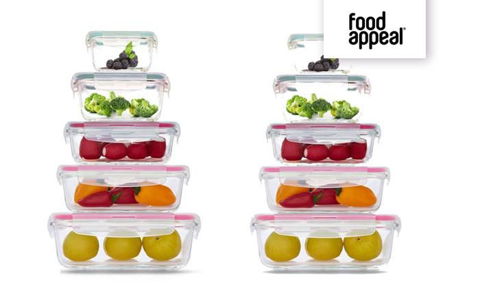 3 סט 10 כלי אחסון GlassCloc של Food Appeal - משלוח חינם