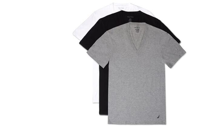 8 מארז 6 חולצות נאוטיקה לגבר- צווארון וי