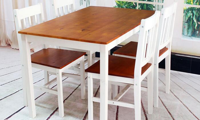 6 פינת אוכל עם 4 כיסאות עץ מלא BRADEX