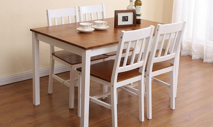 7 פינת אוכל עם 4 כיסאות עץ מלא BRADEX