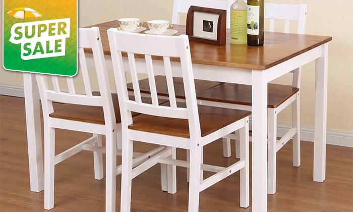 5 פינת אוכל עם 4 כיסאות עץ מלא BRADEX