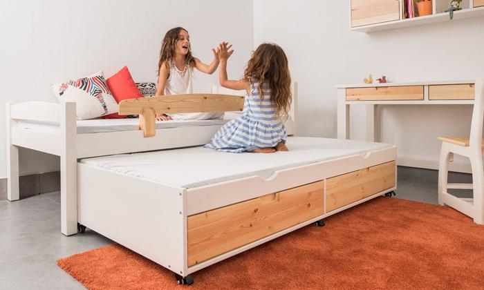 2 מיטה לילדים עם מיטת חבר מעץ מלא Highwood
