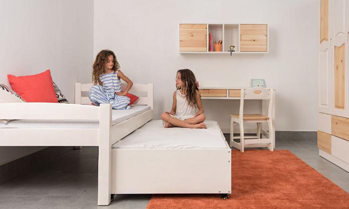 7 מיטה לילדים עם מיטת חבר מעץ מלא Highwood