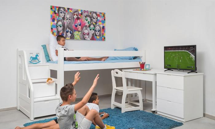 3 מיטת גלריה מעץ מלא לילדים Highwood