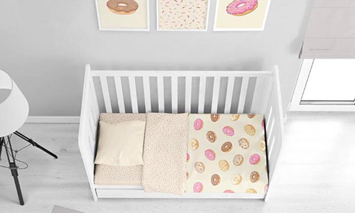 3 מצעי פלנל למיטת תינוק, ורדינון