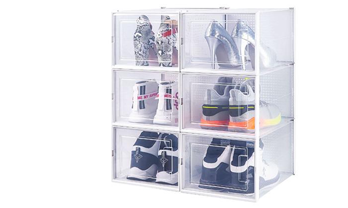 2 מארז 6 קופסאות אחסון לנעליים במבחר גדלים