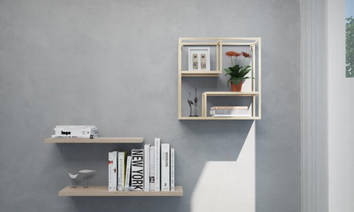 2 מדף קיר מרובע עם מדפים