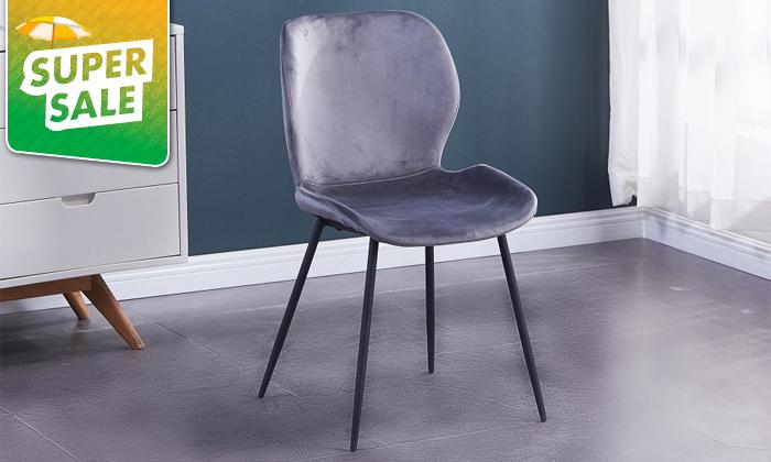 4 כיסא אוכל בריפוד קטיפה