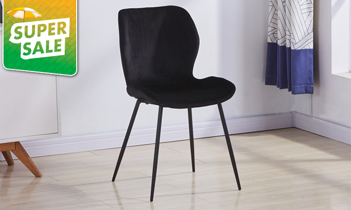 2 כיסא אוכל בריפוד קטיפה