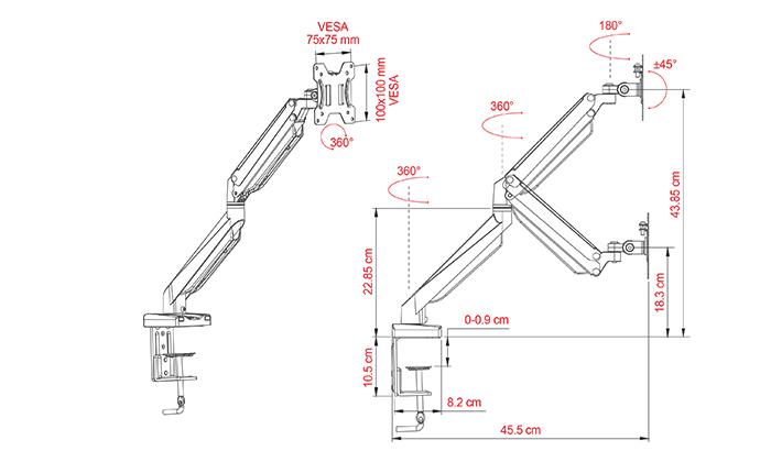3 מתקן תלייה שולחני למסך מחשב עם זרוע טלסקופית