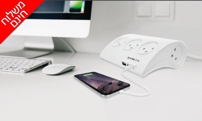 2 רב שקע עם כניסות USB פיור אנרג'י PURE ENERGY